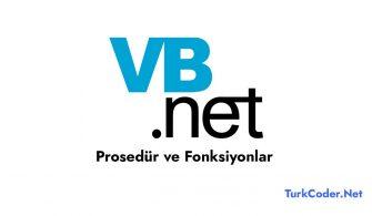 Vb.Net Prosedür ve Fonksiyonlar