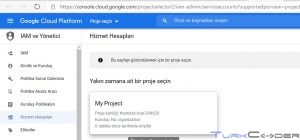 Google hizmet hesabı oluşturma